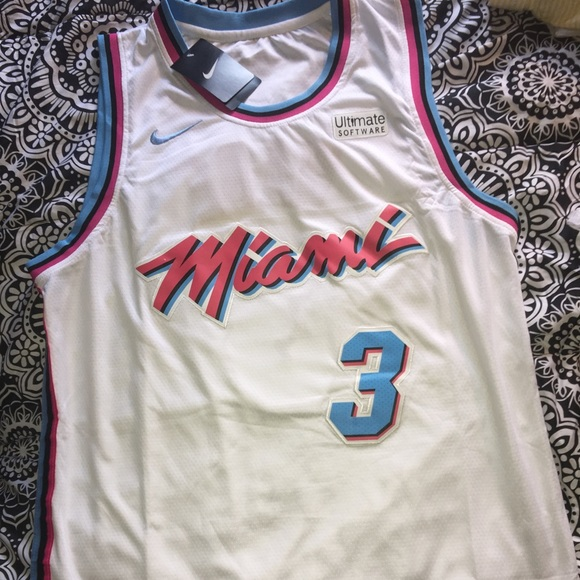 hot sales c457c b8e36 Dwyane wade the city Miami nights heat jersey NWT